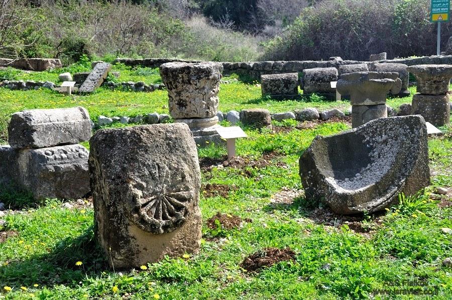 Остатки древних колонн и архитектурных украшений в национальном парке Баниас. . Экскурсия на Голанские высоты. Гид Светлана Фиалкова.