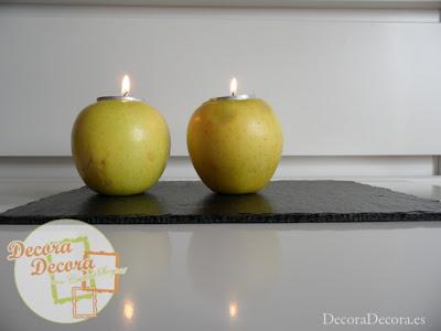 Candelabros hechos con manzanas.
