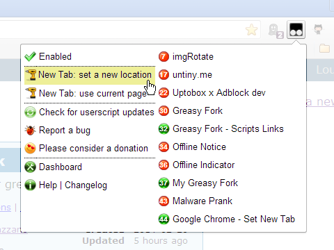 Google Chrome - Set New Tab