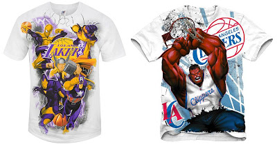 The Marvel x NBA Clothing Collection - Marvel Heroes Lakers and Red Hulk LA Clippers T-Shirts