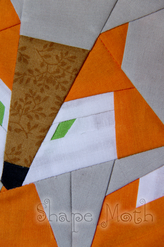 Shape Moth Fox Paper Pieced Quilt Block And Pdf Pattern