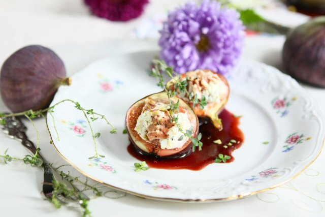 Stuffed Roasted Figs with Goat Cheese and Pistachios
