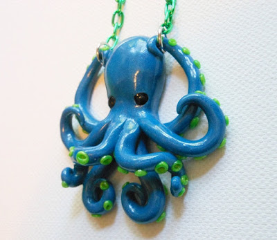 Blue Octopus Pendant by Donna the Dead