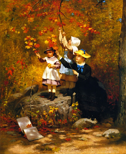 John George Brown - Gathering Autumn Leaves