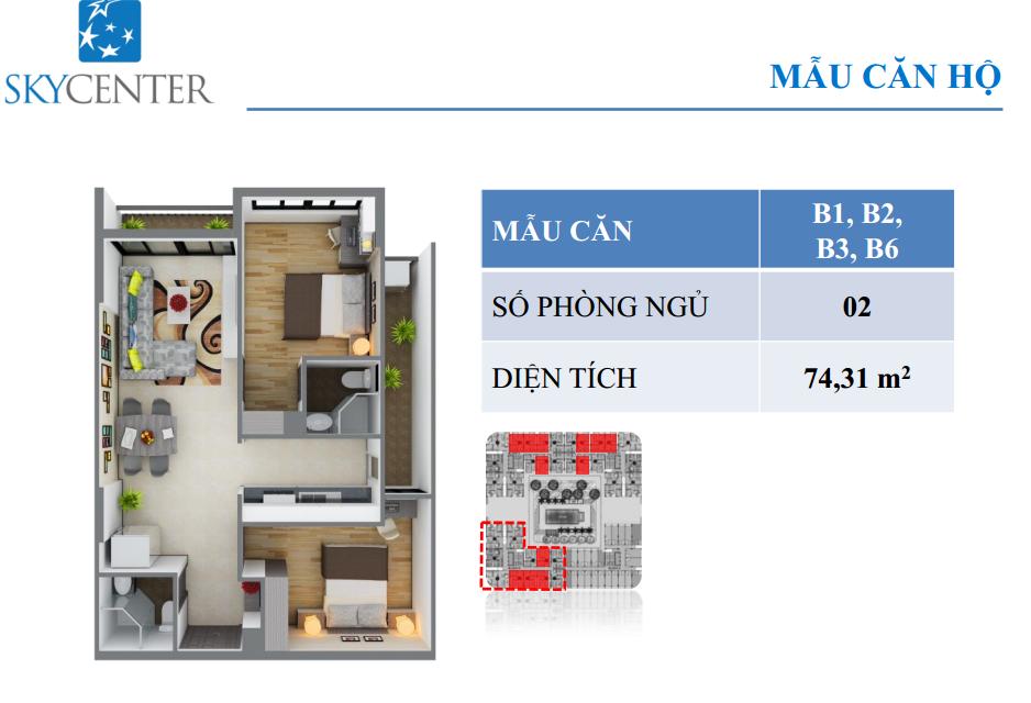 Mẫu  căn hộ B1,B2,B3,B6