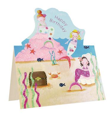 die cut birthday cards - mermaids birthday card