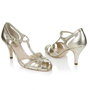 Silver Low Heel Wide Width Mother Of The Bride Shoes