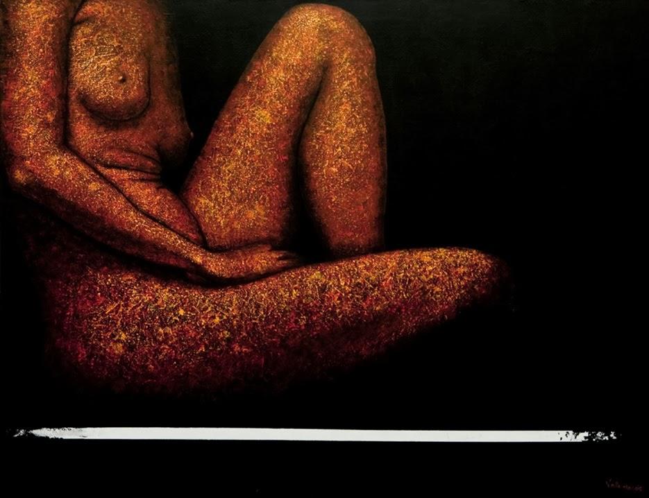Valle Clarós Lloret pintura Sentada realizada con acrilico y a esptula
