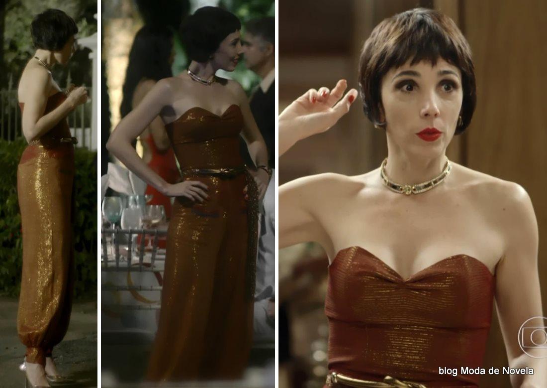 moda da novela Boogie Oogie - look da Leonor com macacão dia 7 de agosto