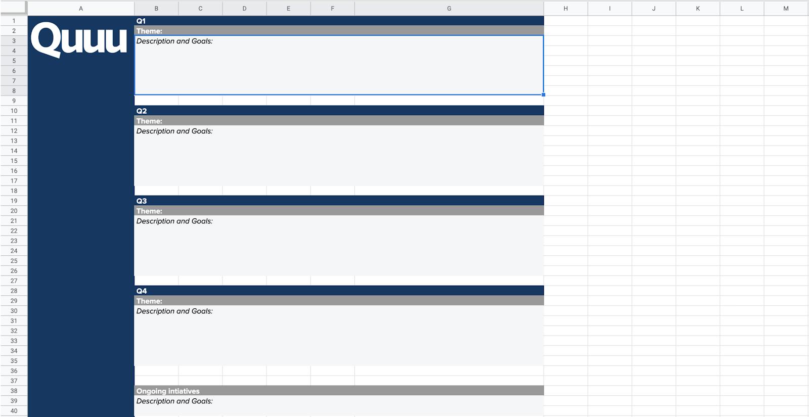 Example image of Quuu's free content calendar