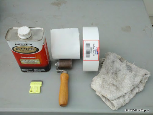 Items needed to install Eternabond RoofSeal on your RV.