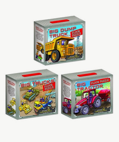 set of 3 big floor puzzles big trucks, big tractor, big dump truck