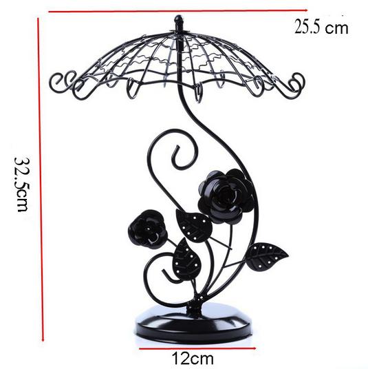 Elegant Jewelry Organizer Display Earring Holder Rotating Umbrella Rose Shape Home Decor