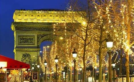 Sfondi di Natale Francia Parigi Arco di Trionfo luci