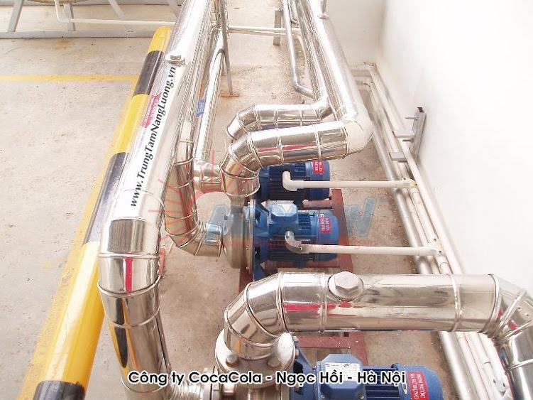 hệ thống máy nước nóng năng lượng mặt trời MEGASUN tại Công ty Cocacola Ngọc Hồi, Hà Nội