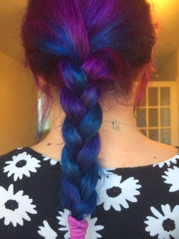 purple and blue plaited hair