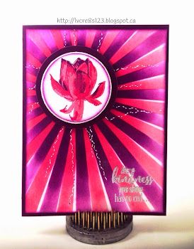 Linda Vich Creates: Play MISTI For ME. Blackberry Bliss, Rose Red and Strawberry Slush team up in this Lotus Blossom card. The Sun Rays mask from the Hooray I't's Your Day Project Kit helps direct the user's attention to this stunning flower.