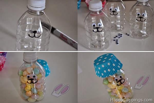 Coelhinho com garrafa pet
