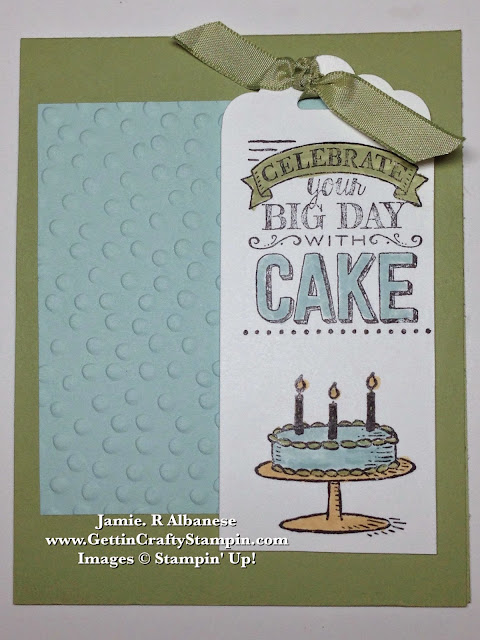 Getting Crafty With Jamie Big Day Birthday And Cake Hand Stamped Card