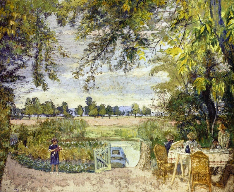 Édouard Vuillard - Figures Eating in a Garden by the Water A Decorative Panel for Bois Lurette