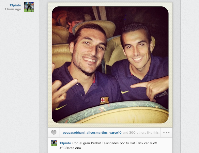 Pinto posts Instagram picture with Barcelona hat trick hero Pedro