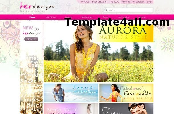 Free Floral Girls Store Pink HTML Website Template