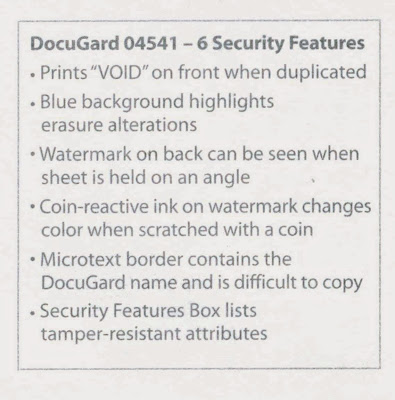DocuGard security features listed on back of prescription to prevent copying
