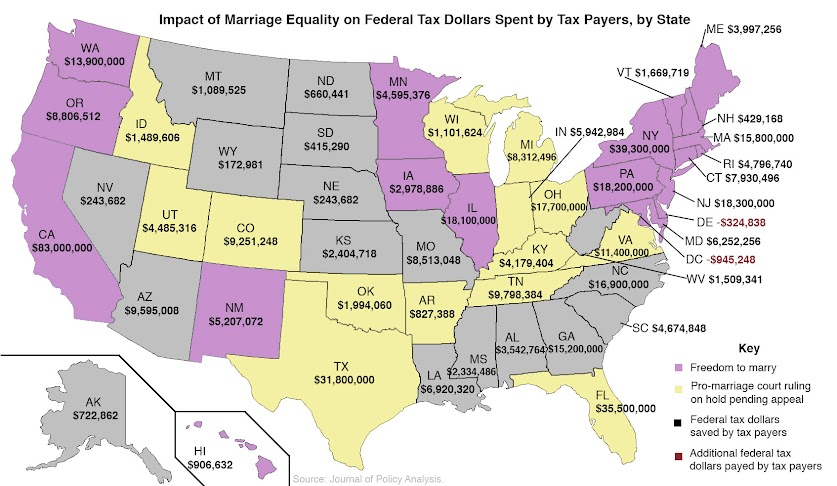 What Marriage Equality Means In Dollars A Statebystate Guide - States with no income tax map