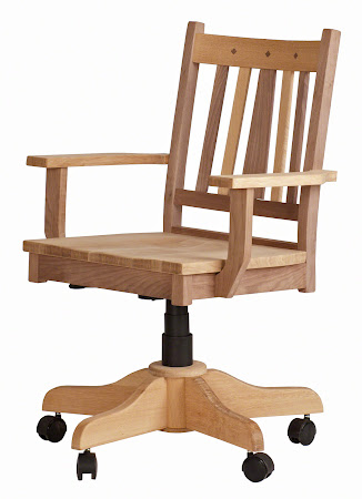 Eastern Office Swivel Chair with Casters, in Natural Maple and Walnut