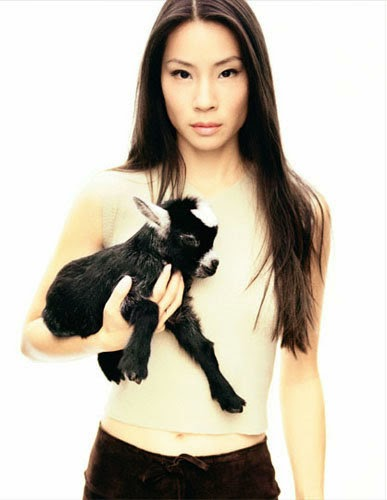 Lucy Liu and a goat