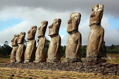 Moai statues on Easter Island in Chile