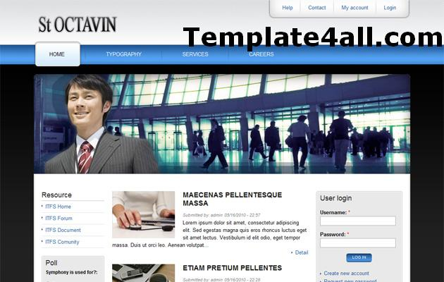 Free Blue Business Drupal 6 Theme Template