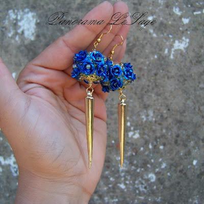 Kolczyki długie wiszące złoto złote róże kule na bogato z kolcami ćwieki błyszczące glam róże złote Rose Gold Panorama LeSage Blog niebieskie electrik zielone metalik długie lekkie