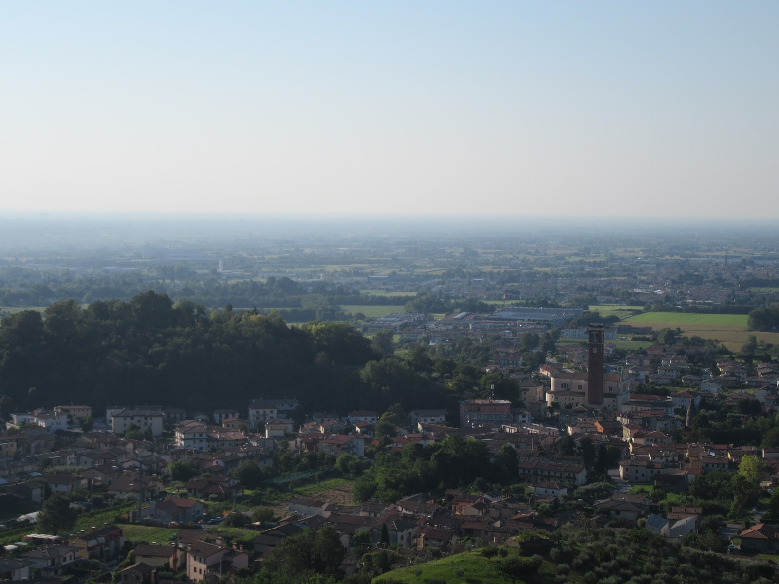 Climbing Monte Grappa from Romano d'Ezzilino by bike - view of Romano d'Ezzilino