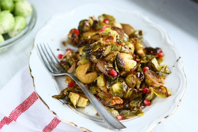 Roasted Brussels Sprouts with Balsamic, Honey, and Walnuts