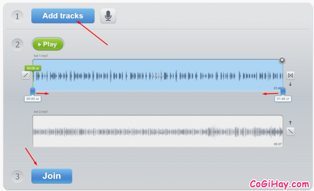 chọn file nhạc để ghép thành 1 file nhạc mp3