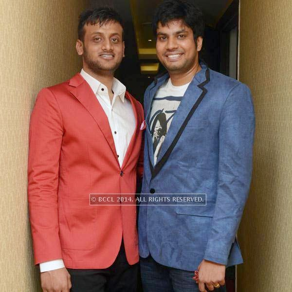 Karthik and Lalith at the launch of Essensuals salon in Chennai.