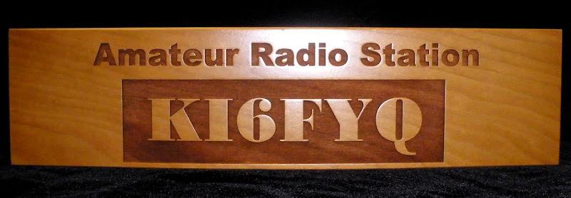 Cherry Laser Raised Engraving Call Sign Desk Plate