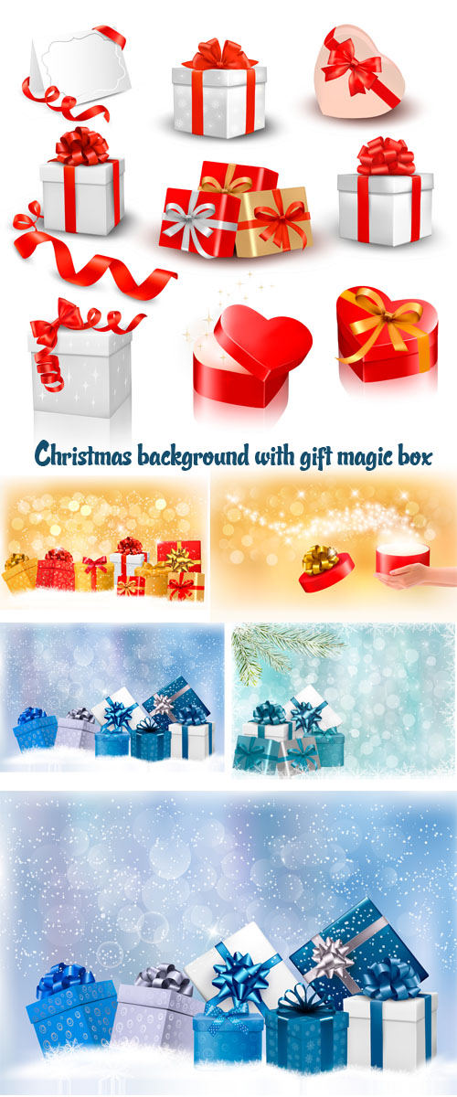 Stock: Christmas background with gift magic box