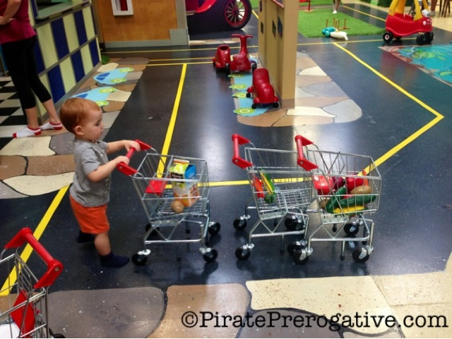 Putting all his carts in a row.