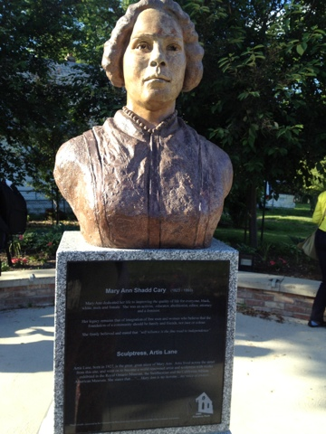 """BME Freedom Park with a bust of Abolitionist Mary Ann Shadd by Artis Lane"""