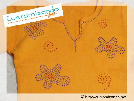 Customizar blusinha com hidro miçanga