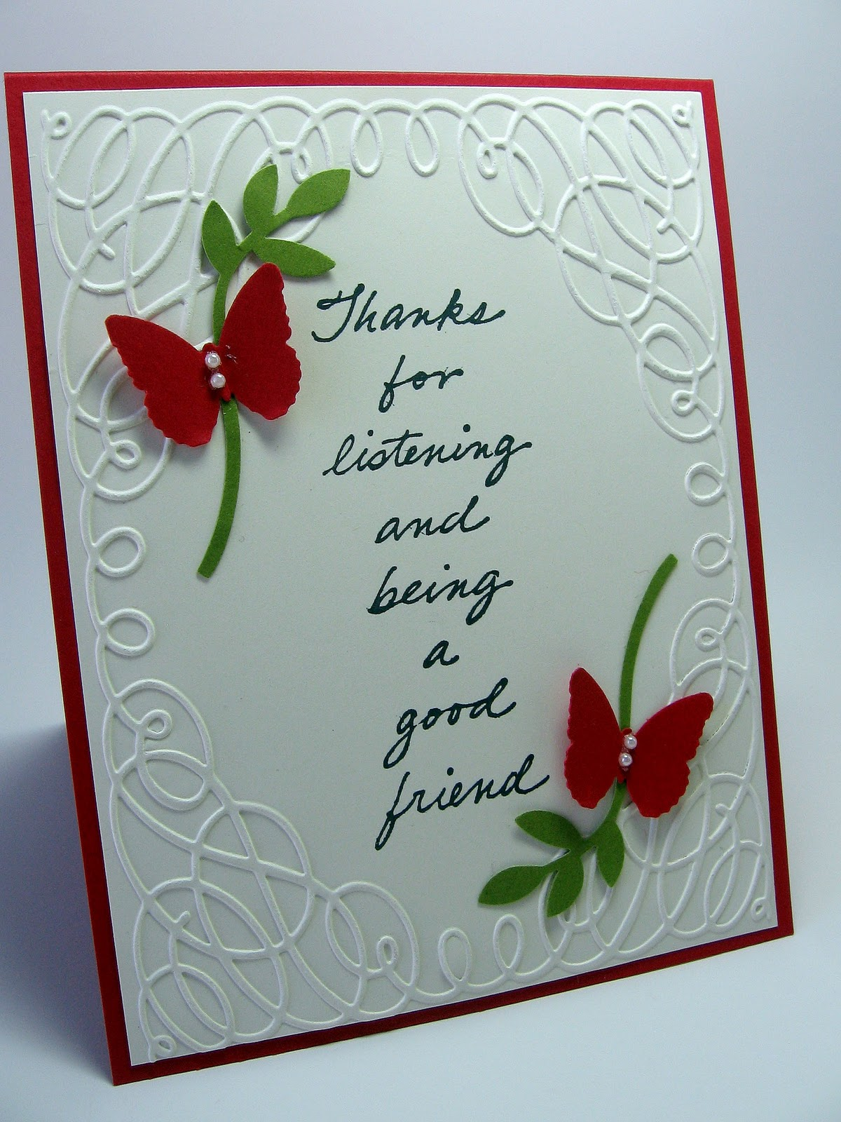 Card Making Ideas Tips Projects Part - 17: Embossed Thankyou Card
