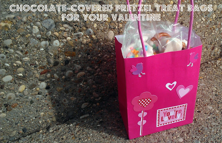 Easy Chocolate Covered Pretzels and Treat Bags for Valentine's Day