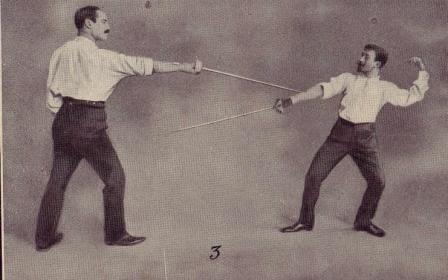 Журнал «La Vie au Grand Air», 1909 г. Тактика дуэли на шпагах.