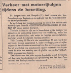 Verkeer met motorrijtuigen tijdens de bezetting. Mededeling van de burgemeester van Hengelo tijdens de Tweede wereldoorlog.