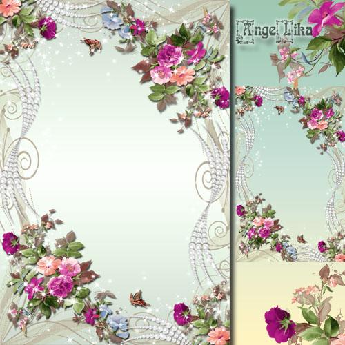 Праздничная цветочная рамка для фото - Весенние цветы и жемчуг
