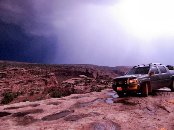 Lightning behind Chris' Ridgeline on the rim of Hell Roaring Canyon