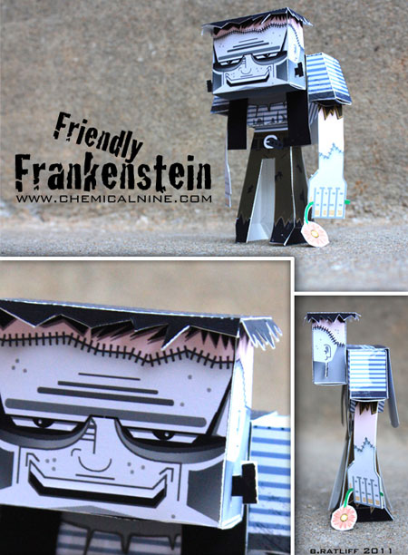 Friendly Frankenstein Paper Toy