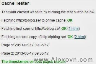 Test lại cấu hình wp super cache
